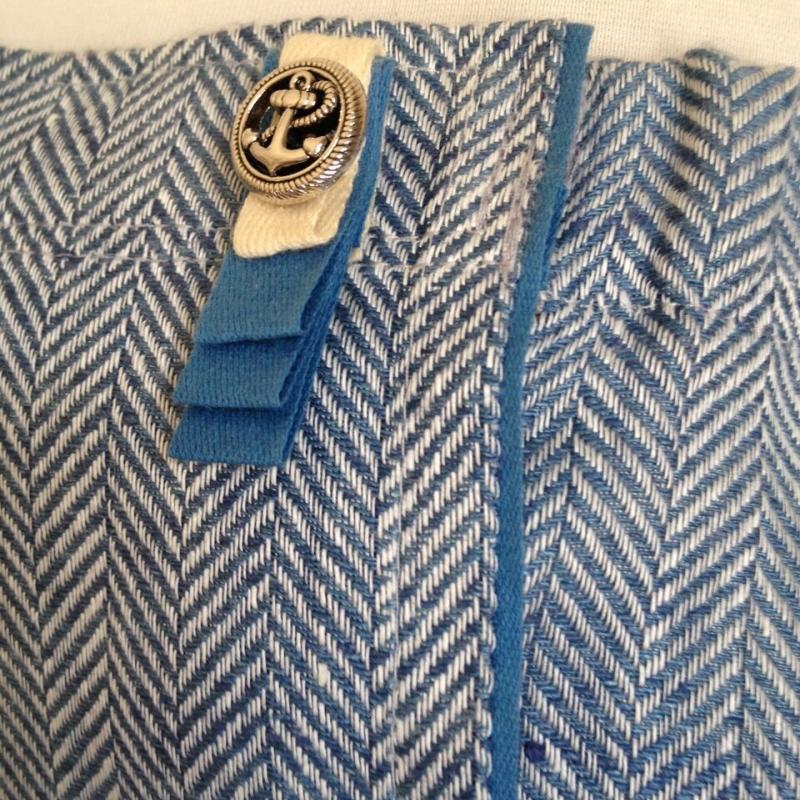 women sauna bath and spa skirt light blue with fishbone pattern