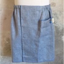 Men's Sauna/Bath- and SPA Skirt. Light blue with fishbone pattern