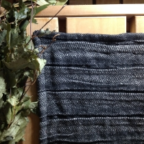 Sauna Seat Cover, Small Black Linen with Wide Pleats