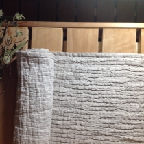 Linen Sauna Seat Cover. Long, Gray with Pleats