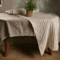 Linen Runner. White-Gray Linen with Pleats 40x210