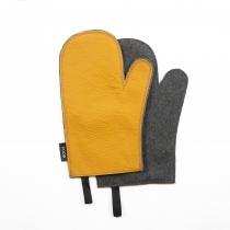 Leather Oven Mitten, mustard yellow