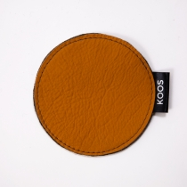 Leather Coaster, mustard yellow