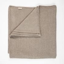 Linen Bedcover. Big, Beige Checkered Fishbone Pattern 280 x 280