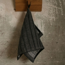 Small Towel. Black with Wide Pleats