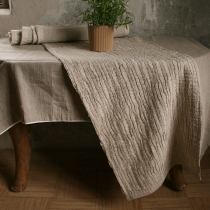 Linen Runner. Gray with Pleats 40x155