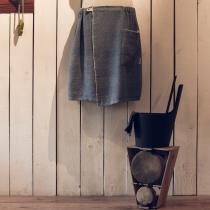 Mens Sauna/Bath- and SPA Skirt. Dark blue with fishbone pattern