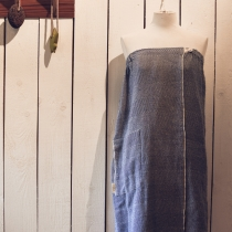 Women Sauna/Bath- and SPA Skirt. Dark blue with fishbone pattern