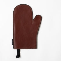 Leather Oven Mitten, chestnut glossy