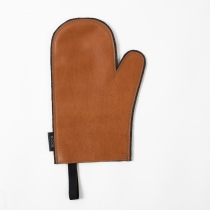 Leather Oven Mitten, orange-brown