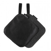 Leather Pot Holder, black