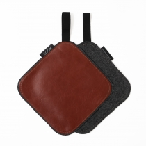 Leather Pot Holder, chestnut glossy