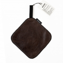 Leather Oven Mitten, dark brown glossy