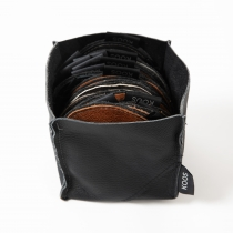 Leather Basket, black 13x13x12