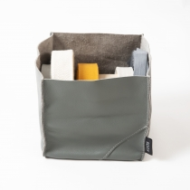 Big Leather Basket, gray 18x18x18