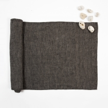 Linen Sauna Seat Cover. Long, Black Fishbone pattern 53 x 140