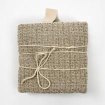 Big Linen Towel. Gray Textured Fabric