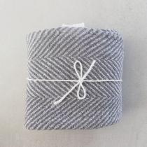 Big Linen Towel. Gray Checkered Fishbone Pattern