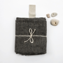 Big Linen Towel. Black with Fishbone Pattern