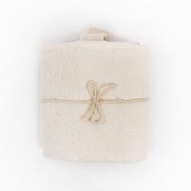Big Linen Towel. White Checkered Fishbone Pattern