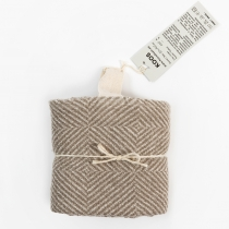 Big Linen Towel. Beige Checkered Fishbone Pattern