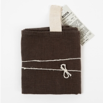 Big Linen Towel. Dark Brown with White Hanger