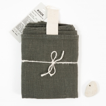 Big Linen Towel. Dark Green with White Hanger