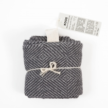 Big Linen Towel. Gray Checkered Fishbone Pattern