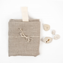 Big Linen Towel. Gray with White Hanger