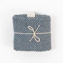 Big Linen Towel. Sea Blue Checkered Fishbone Pattern