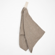 Small Linen Towel. Beige Checkered Fishbone Pattern