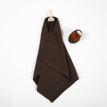 Small Linen Towel. Dark Brown