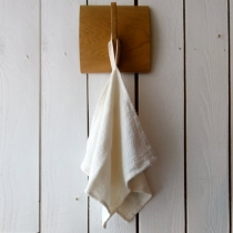 Small Linen Towel. White Checkered Fishbone Pattern