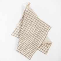 Small Linen Towel. White-Gray Linen with Pleats