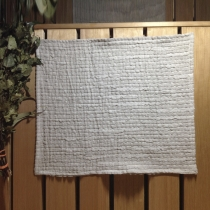 Linen Sauna Seat Cover. Gray with Small Pleats